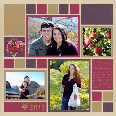 <3 <3 <3 this cool colorblocked layout using MOSAICS.... 70+ different patterns on website as of today (1.29.13)... single and double pages... most have a layout example like the one above... you can rotate and/or flip them, mirror them into a double page.... endless possibilities... GREAT inspiration! #scrapbooklayouts
