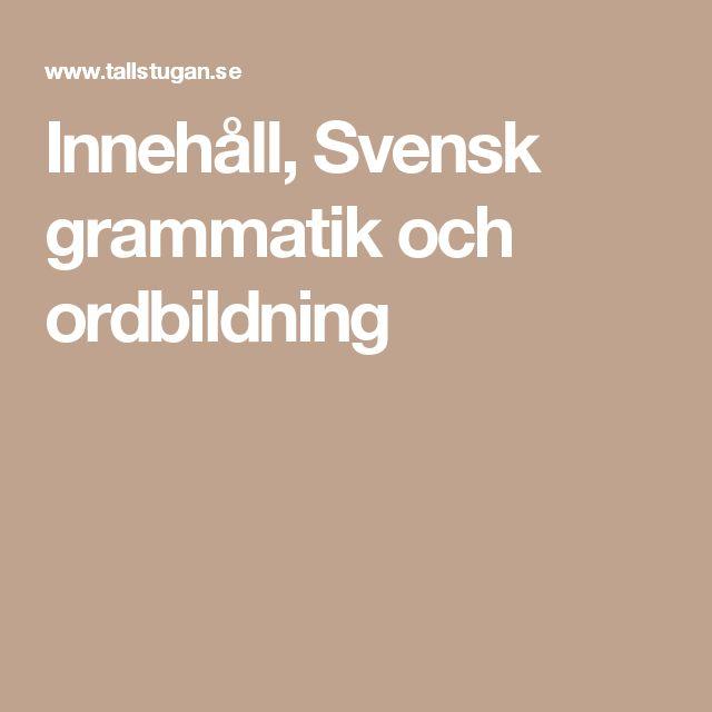 Innehåll, Svensk grammatik och ordbildning