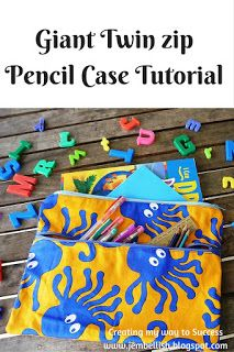 How to make a Giant twin zip pencil case in 5 steps and 15 minutes - awesome large pencil case for kids and super simple tutorial with lots of photos!