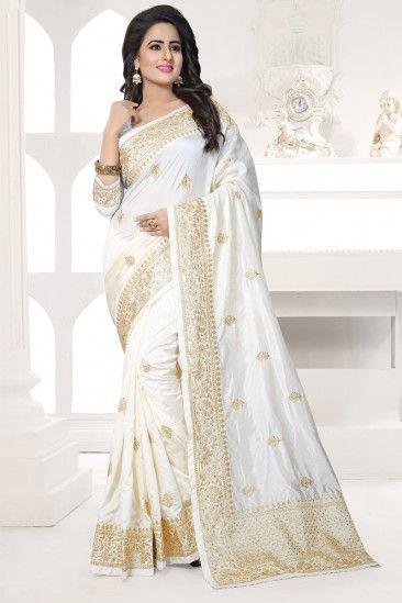 Off white Art silk Saree With Art silk Blouse - DMV12476
