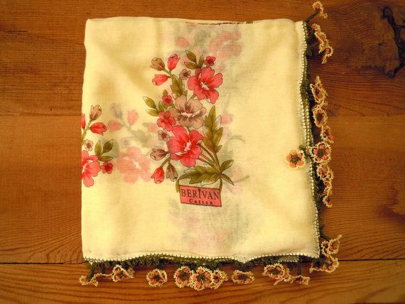 cream cotton scarf pink flower turkish oya needle lace