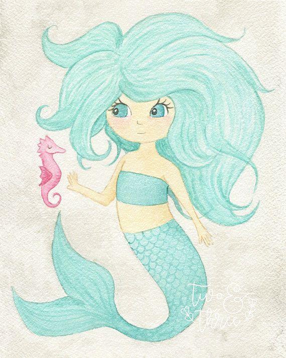 Nursery art print, Watercolour, Mermaid, children's art