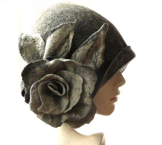 Grey Felted  Hat felt hat Cloche Hat Fapper 1920 Hat Art  Gray Hat Cloche Victorian 1920's  Wool Women's hat roses flower by Feltpoint on Etsy