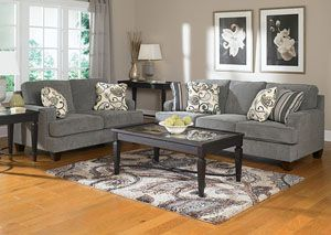 I want this and the matching chair for the sunroom!!! Lancaster's Furniture To Go!! Yvette Steel Sofa & Loveseat