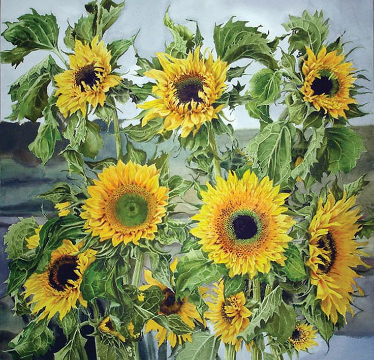 Sunflowers with Twachtman Palette / Stephanie Anderson / 19.5x19.5_28x28FR