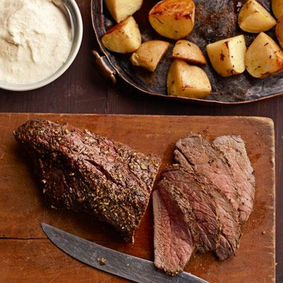 A juicy seasoned sirloin tip roast is the centerpiece of this delicious meal. With a side of roasted potatoes, it's sure to be a family favorite.  #vegetables #protein #dairy #myplate