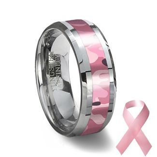 Tungsten Carbide Ring & Pink Camouflage | Camouflage Wedding Ring
