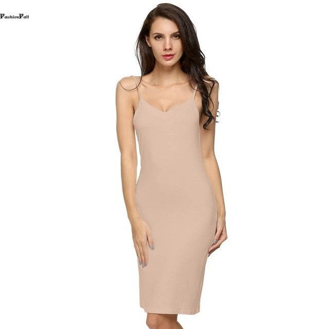 Modal Long Slip Summer Solid Spaghetti Strap Sleeveless Knee Length Bottoming Soft Womens Slips Plus Size Underwear XXL 20