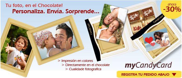 ¡MyCandycard su imagen en color delicioso chocolate belga! ¡Inténtelo!
