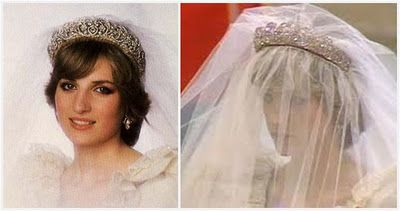 The tiara includes diamonds in silver settings mounted in gold in various floral shapes: stylized tulips, star-shaped flowers, and scrolling foliage. It was worn by both of Lady Diana Spencer's older sisters, Jane and Sarah, at their weddings before it made its infamous debut at Diana's wedding to Charles, the Prince of Wales in 1981.