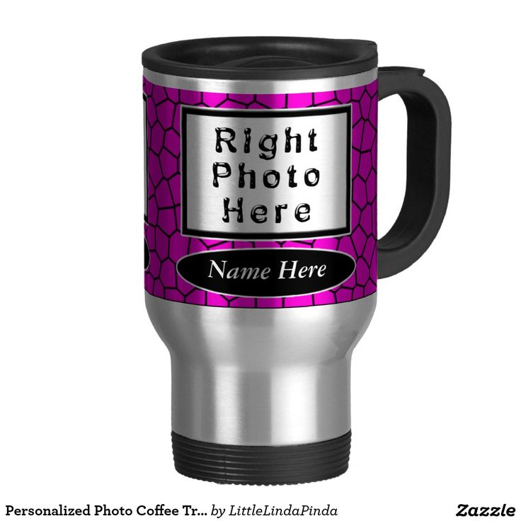Pretty PHOTO Personalized Mugs for Here. Add YOUR 2 TEXT and  2 PHOTO Personalized Coffee Travel Mugs with cool Pink Mosaic design.  CLICK: http://www.zazzle.com/personalized_photo_coffee_travel_mugs_pink_mosaic-168067150653835107?rf=238147997806552929  Quality stainless steel travel mugs for her or choose one of the many ceramic mugs. More Personalized Gifts for Her, Mom, Daughters, Daughter in laws: http://www.zazzle.com/littlelindapinda/gifts?cg=196629620389757891&rf=238147997806552929