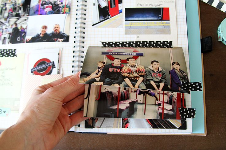 Use washi tape to create a cascading photo effect and to create tabs to easily lift up each photo