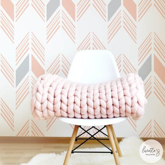Pink Herringbone Nursery Wallpaper Bohemian Baby Room Etsy Girls Room Wallpaper Kids Room Wallpaper Removable Wallpaper