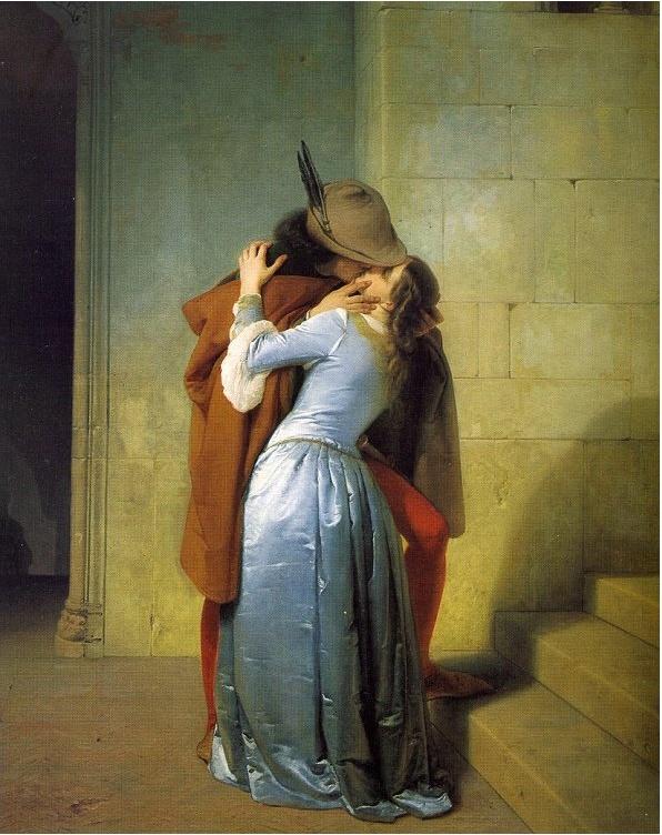 키스 - 프란체스코 하예즈  1859. 밀라노. 브레라 미술관 이 작품은 파리에서 개최된 세계박람회를 위해 그려져 국가의 독립과 통일을 이룩해가던 이탈리아와 프랑스, 두 나라 간의 동맹을 암시하기도 합니다. 그림 속 두 인물의 의상은 화가가 살던 시대가 아닌 중세시대의 복장입니다. 19세기 중반 이후까지 예술계에서는 사랑의 장면을 현재의 배경으로 설정하는 것은 부적절하다는 생각이 널리 퍼져있었습니다.