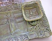 Ceramic Dragonfly Sushi Set Tray Bowl Handmade Pottery Green Tapas