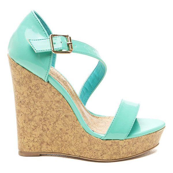 Finish It Off Patent Wedges MINT (Final Sale) ($9.95) ❤ liked on Polyvore featuring shoes, sandals, wedges, heels, heels and boots, green, wedge heel sandals, mint sandals, heeled sandals and green heeled shoes