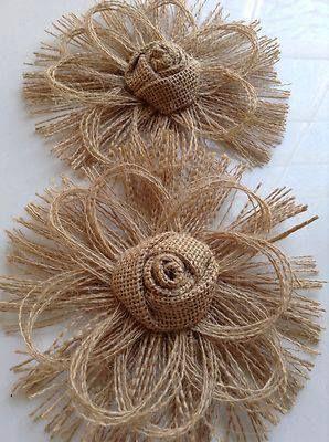 flores hechas con arpillera