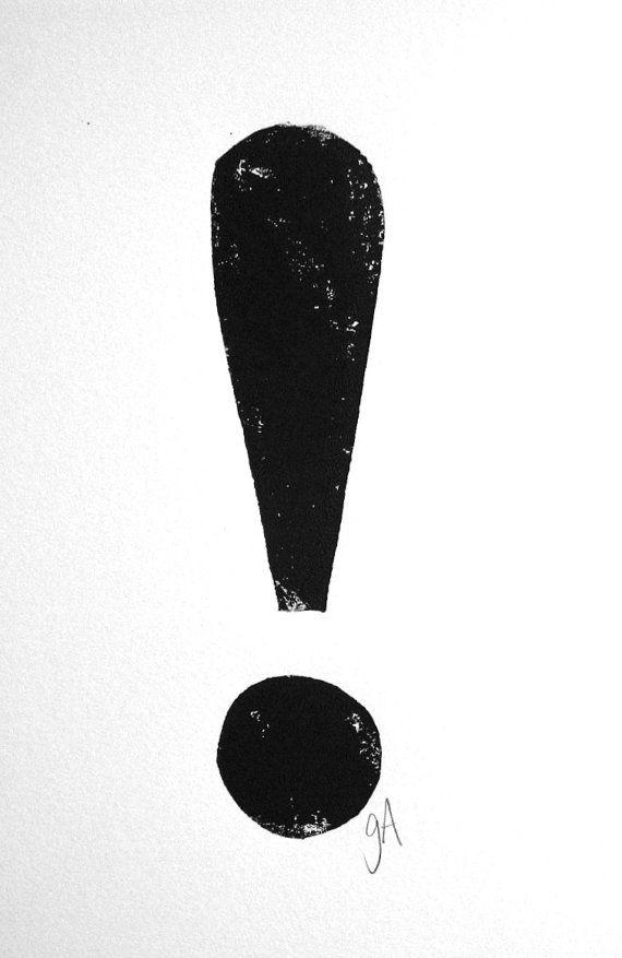 LINOCUT PRINT - exclamation point BLACK letterpress punctuation poster 8x10
