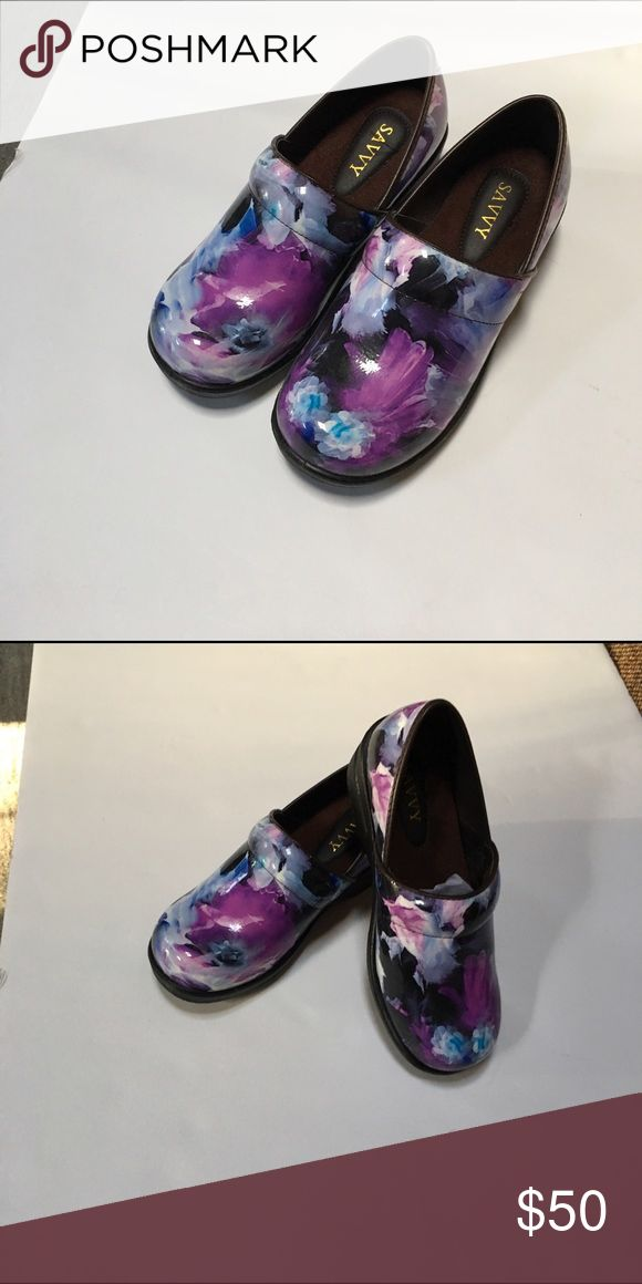 New savvy medical nurse work shoes New savvy medical nurse slip resistant work shoes clogs - Blue purple paint splatter. I'm so comfy-they cradle your feet! Price is firm. Cross listed-won't last long. Shoes Mules & Clogs