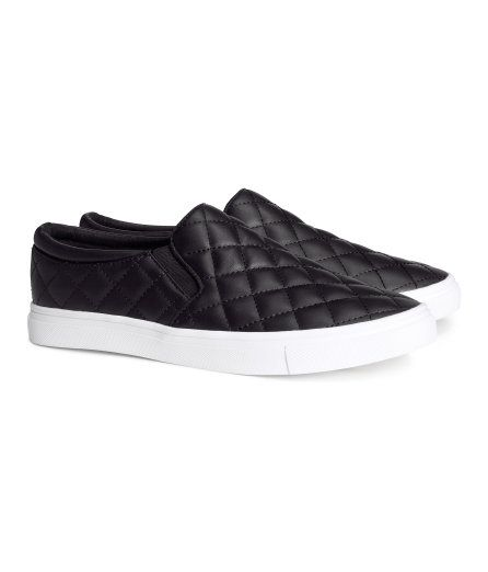 I'm learning not to pin clothing until I've actually purchased.  These are so populare they have been out of stock and was lucky enough to do some online shopping and find the only size 8 in stock at midnight.  They have shipped and are on their way. H&M--black quilted Vans-ish sneakers