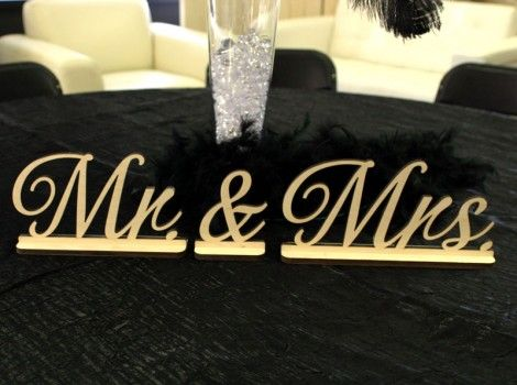 "Mr. & Mrs. Wood Letters. 3/8"" Thick 