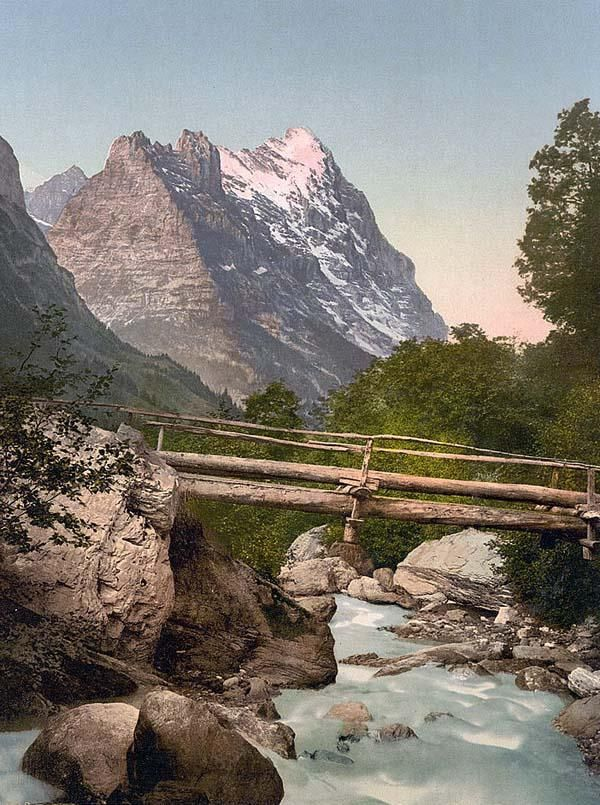 Historic Color Print Of Grindelwald With Eiger Bernese Oberland In Switzerland