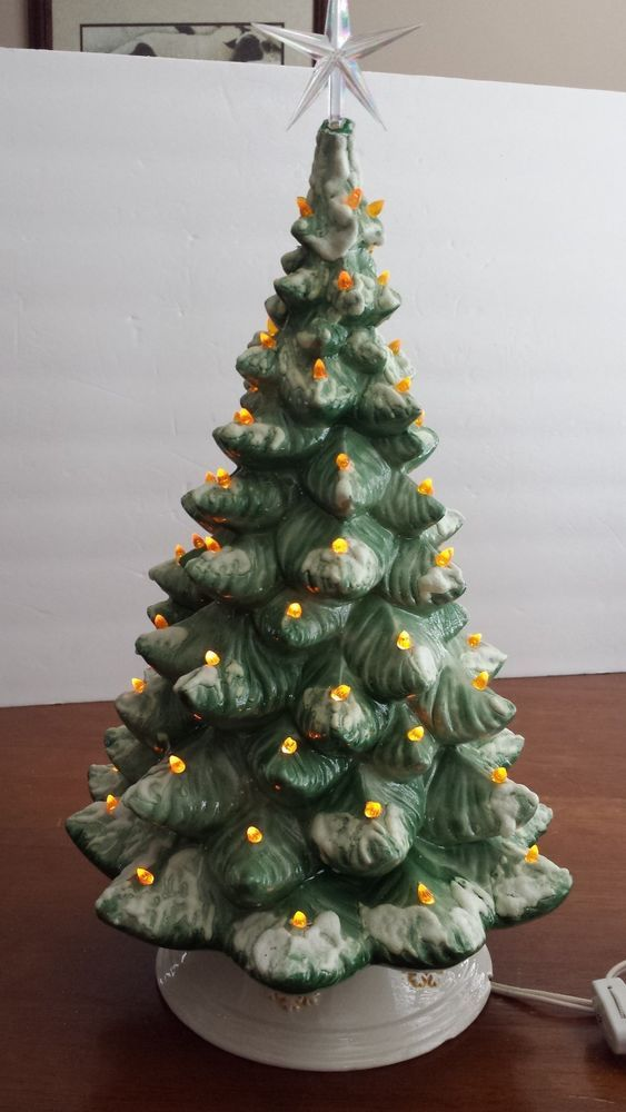 large 18 vintage ceramic lighted christmas tree with base - Large Christmas Tree