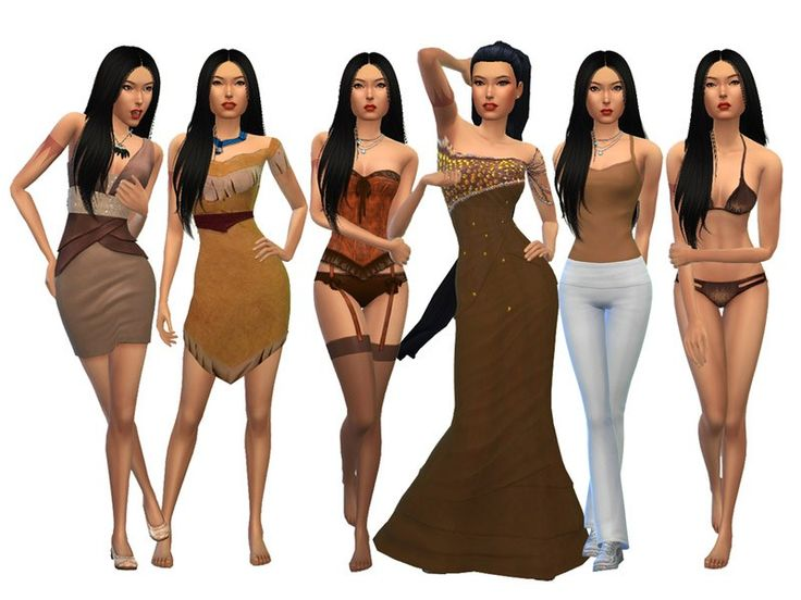 Pocahontas for The Sims 4 by Misstex892 Available at The Sims Resource DOWNLOAD Disney inspired Pocahontas Creator Notes Pocahontas CC Offsite: Film Dress, Formal Dress, Formal Hair:http://modthesims.info/download.php?t=545063 Sleep:http://mystufforigin.blogspot.com/2014/11/lingerie-corset.html Necklace:http://salem-c.tumblr.com/post/121619467090/shadow-feathers-necklace-ts4-standalone-2 Bikini:http://sims4freestu...