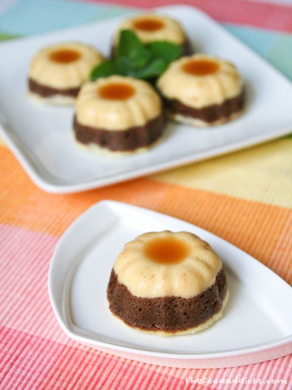 Recipe For Mini Chocoflan  - Chocoflan is a classic Mexican dessert that combines a rich decadent layer of chocolate cake, a creamy layer of flan, and topped with caramel sauce.