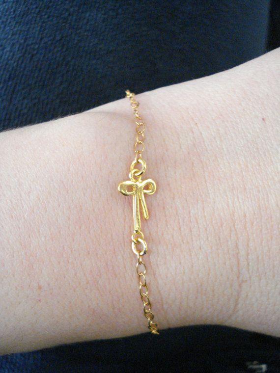 Bow bracelet Bow tie charm Ribbon charm bracelet Simple by Poppyg
