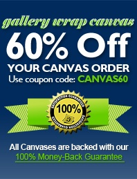 60% off all photos on canvas and money back guarantee and returns policy