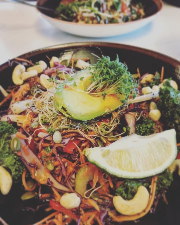 Enjoying a raw food salad for Saturday day lunch at our favorite vegan spot in Oslo - @funkyfreshfoods  #vegan #vegancouple #veganlife  #plantbased #nutrition #health #plantbaseddiet #diet #eatmoregreens #hownottodie #sustainability #crueltyfree #vegantravel #vegannutrition #veganhealth #govegan #rawfood #rawsalad #raw #rawvegan