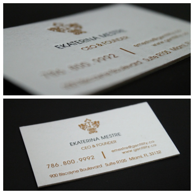 Letterpress Business Card, pantone gold 1245 and black