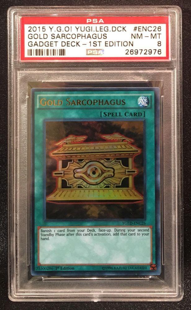 Pop 1* PSA 8 2015 Yugioh #ENC26 Gold Sarcophagus Gadget Deck