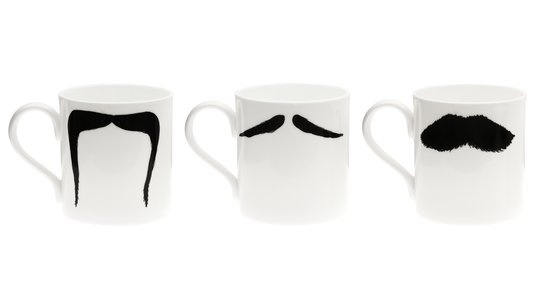 White bone china coffee mugs with mustaches? Too freakin' cute.: Mugs Sets, Gift, Father Day, Peter Ibruegg, Whiskers, Father'S Day, So Funny, Coffee Mugs, Mustache
