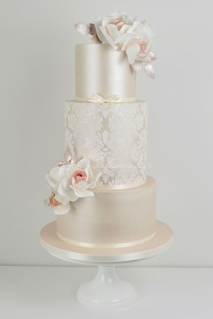 Champagne Damask wedding cake by Blossom Tree Cake Company, Harrogate, North Yorkshire #modernweddingcakes