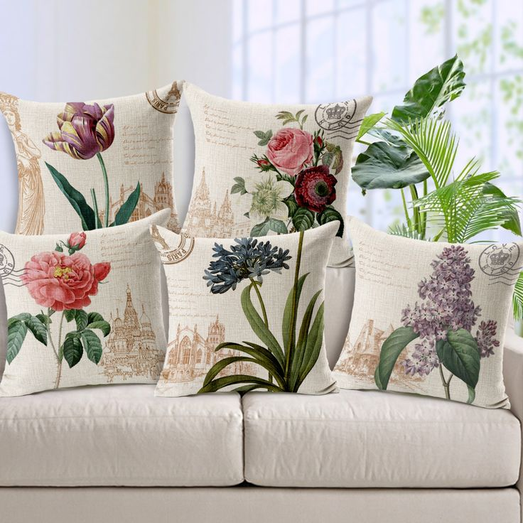 Cheap cushion cover, Buy Quality quality cushion covers directly from China throw pillow covers Suppliers: High Quality Watercolor Style Cushion Covers Colorful Flowers Almofadas Cojines Home Textiles 45x45CM Square Throw Pillow Covers