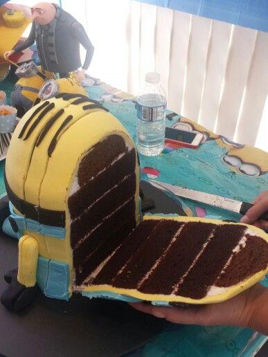 Inside of minion cake