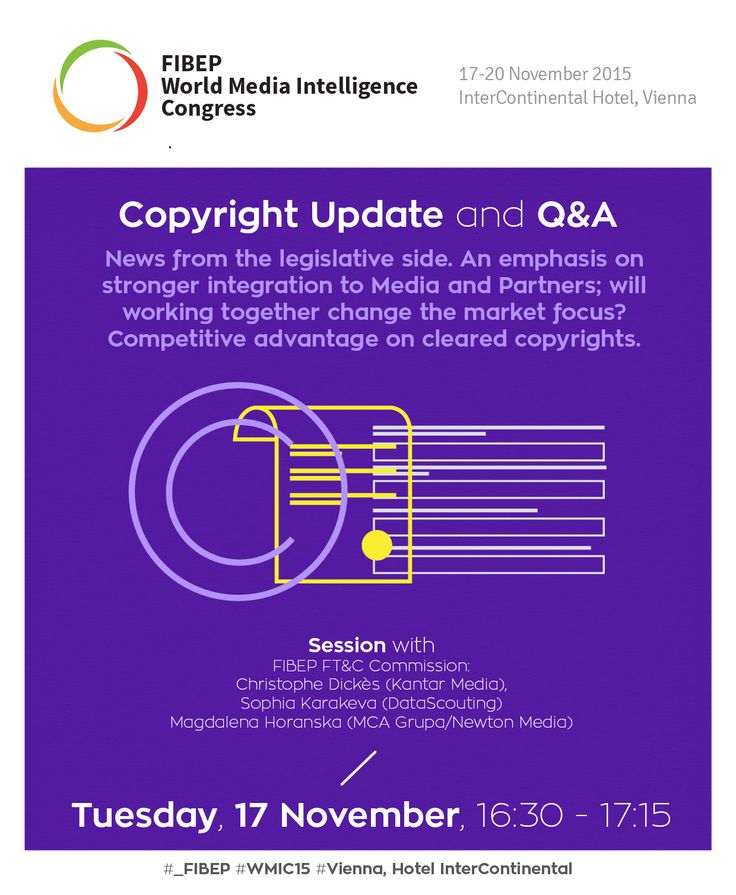 Copyright Update and Q&A at the FIBEP WMIC15 in Vienna on the 17th of November with members of the FIBEP Fair Trade & Copyright Commission.