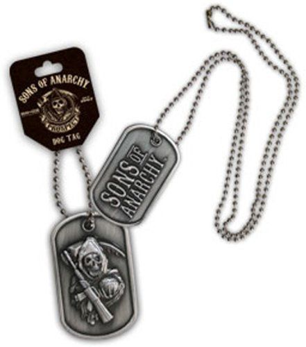 Fans of the hit FX series Sons of Anarchy will appreciate this officially-licensed Sons of Anarchy Reaper Dog Tags.   If you're looking to put together a DIY Sons of Anarchy Halloween costume then wearing this SOA Reaper Double-Sided Dog Tags will show everyone just how far you're willing to go to creating a replica Sons of Anarchy Halloween costume.  These Sons of Anarchy biker dog tags are totally cool and tough-looking.
