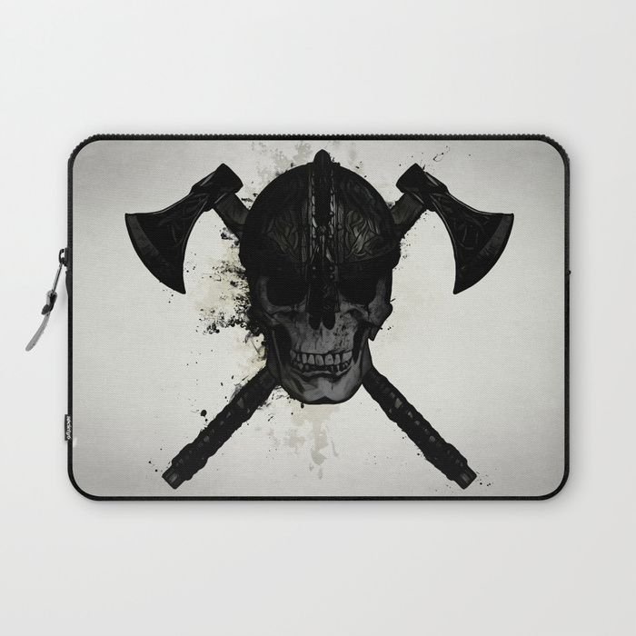 Viking Skull Laptop Sleeve #viking #skull #warrior #digital #illustration #laptop #sleeve