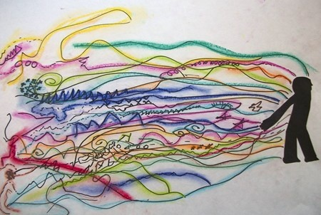 lines in motion-I like the chalk over the black lines