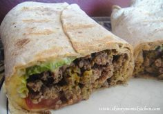 Grilled cheeseburger wraps is a HUGE family favorite at only 329 calories! Use shredded cheese sparingly, or ground turkey and save even more fat and calories.
