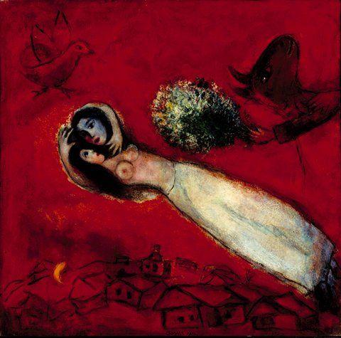 Marc Chagall - Les amants au ciel rouge