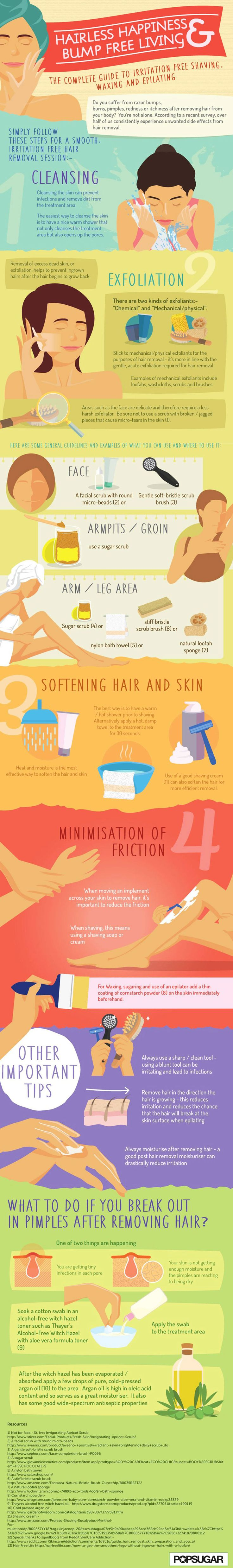 Women Guide to Irritation-Free Shaving, Waxing and Epilating - Beauty Tips Infographic. Topic: facial, body, armpit and leg hair removal guide.