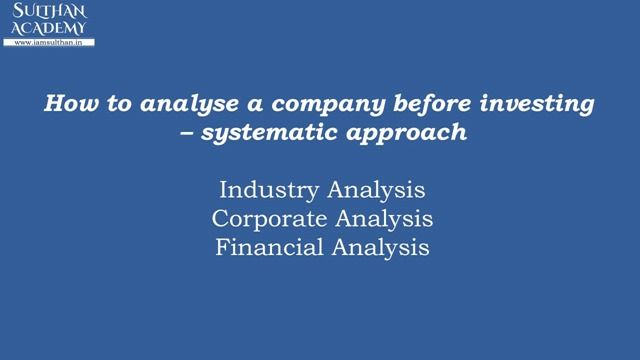 How to analyse a company before investingsystematic approach  Industry Analysis:  An industry includes the companies that are producing similar products / services. For example MRF Apollo tyres Ceat JK tyres belongs to Tyre sector/Industry of India.You have to look at the performance of the industry to which the company belongs. some key factors such as effect of future demand of its products Government policy etc. need to be carefully noted. A change in business environment may cause a…