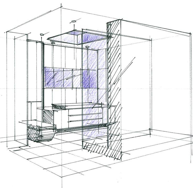 """Croquis d'un concept """"CUBE"""" Salle de bains Philippe Ponceblanc Architecte d'intérieur http://www.architecte-interieur.com"""