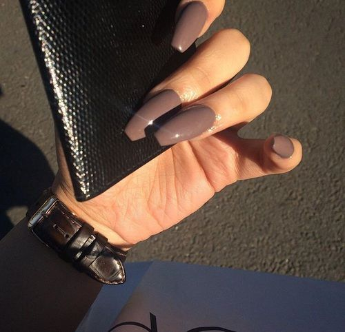 Gray Coffin Acrylic Nails