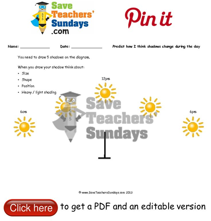 How shadows change during the day sun dial diagrams and results table. Go to http://www.saveteacherssundays.com/science/year-3/329/lesson-2-how-shadows-change-during-the-day/ to download this How shadows change during the day sun dial diagrams and results table. #SaveTeachersSundaysUK