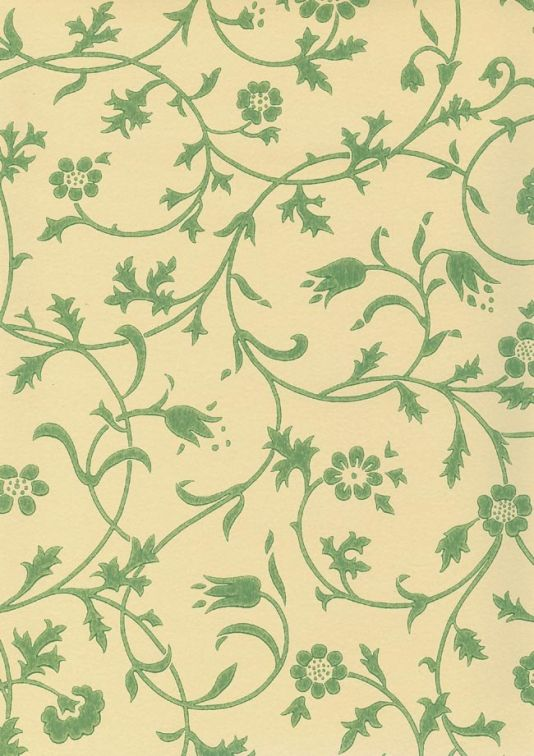 Medway Wallpaper Floral Scroll Design Green On Pale Yellow Fabrics And Papers